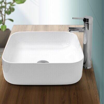 Lavabo cerámica moderno cuadrado pila de fregadero común baño blanco 390x390mm