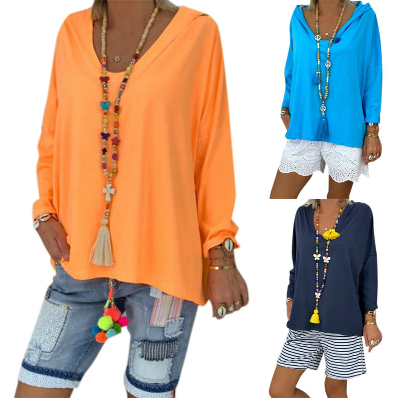Damen Kapuzen Bluse T-Shirt Hoodie Baggy Langarm Shirts Tops Oberteile Übergröße