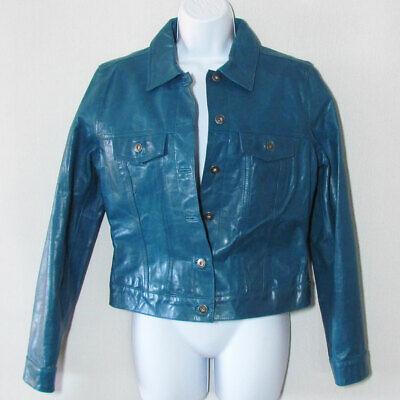 GAP Vintage Teal Leather Jacket. Womens Classic Jean Jacket Style Medium