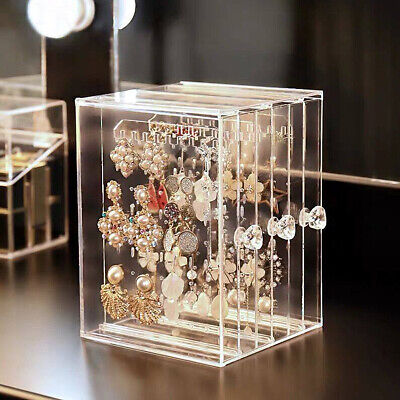 Dustproof Transparent Acrylic Earrings Jewelry Storage Box Display Stand Gift Acrylic Earring Display Stand