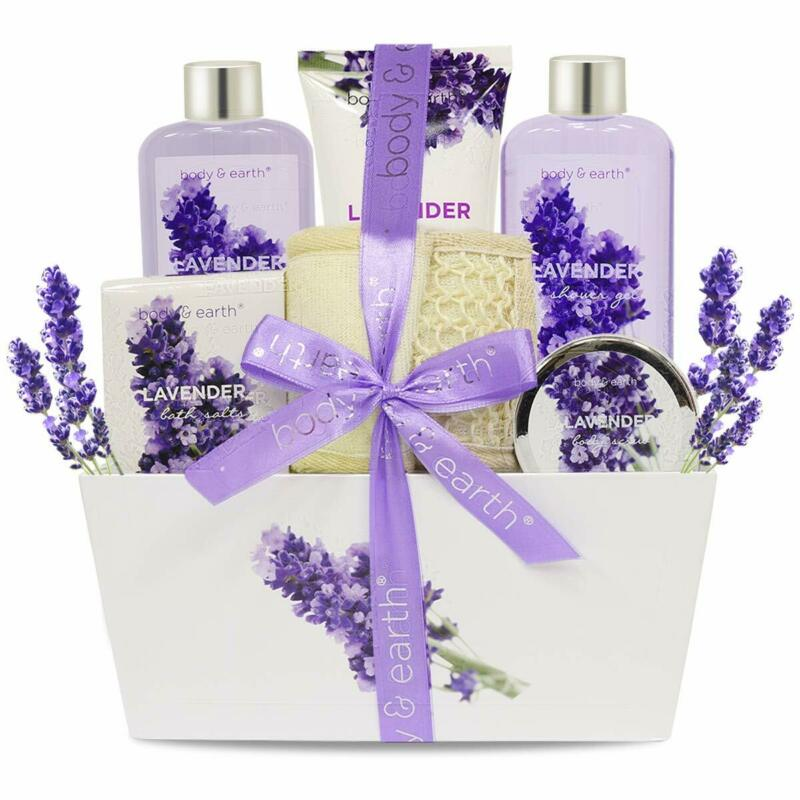Spa Gift Basket, 1-4 Pack Body & Earth Bath Body Set in Lavender Scent for Women