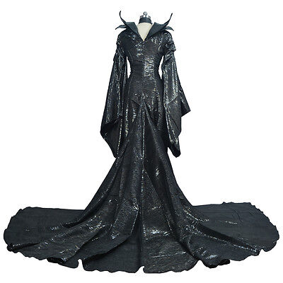 US! Movie Maleficent Angelina Jolie Halloween Witch Cosplay Costume Women Dress