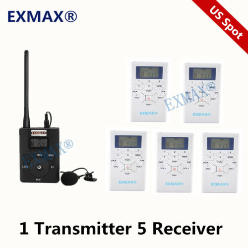 FM 60-108MHz DSP Stereo Wireless FM Radio Broadcast Tour Guide System 1T5R US