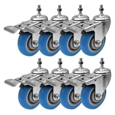 8 Pack 4 Inch Stem Caster Swivel W Front Brake Blue Polyurethane Caster Wheels