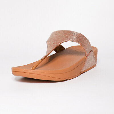 Womens Fitflop Shimmy Foil Tan Toe Thong Sandals (TGF30) RRP £54.99