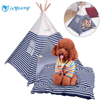 Portable Pet Tent Outdoor Travel Puppy Teepee Cat Dog Kennel Bed Washable House