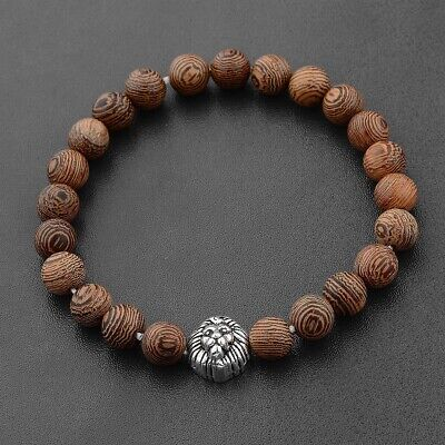 Charm Men's Silver Lion Wooden Beads Elastic Cuff Bracelets Jewelry Best