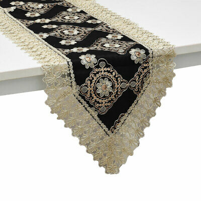 Black Golden Floral Pattern Polyester Lace Decoration Dinning Table Runner