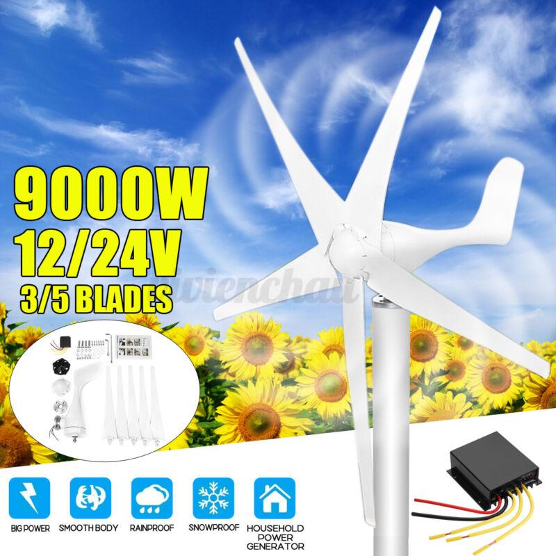 9000W Max Power 5 Blades Wind Turbine Generator w/ Charge Controller DC 12/24V