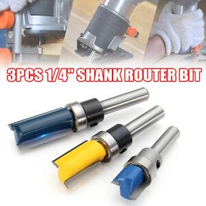 3Pcs 1/4'' Shank Top Bearing Flush Trim Pattern Router Bit Set Milling Cutter US