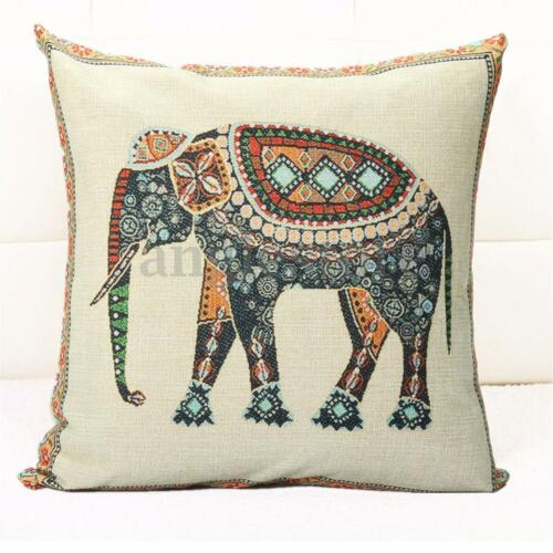 Indian Knitted Elephant Cotton Linen Throw Pillow Case