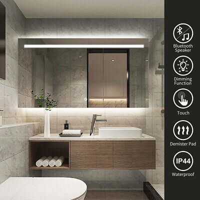 1000x700mm Anti-fog Illuminated LED Bathroom Mirror with Bluetooth Speaker