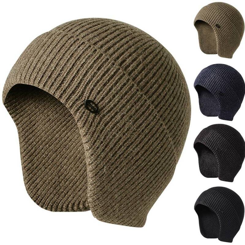 Mens Womens Knitted Aviator Bomber Beanie Hat Warm Lining Wi