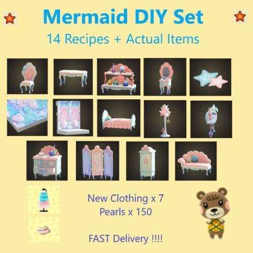 Animal Crossing Mermaid 14 DIY & Items + Pearls AND New Clothing !!!