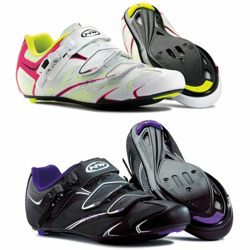 Northwave Starlight SRS Womens Road Cycling Shoes Black Violet & White Fuchsia