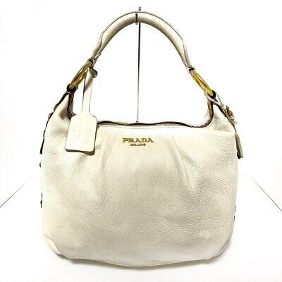 Auth PRADA White Brown Leather Womens Shoulder Bag