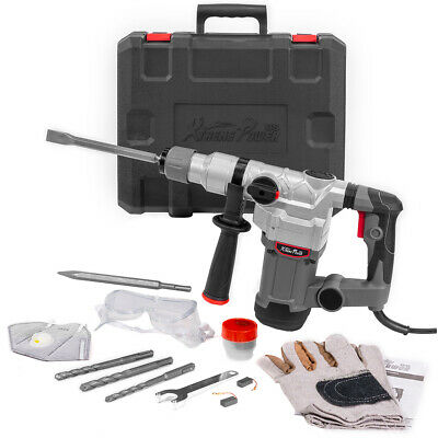 1200w Electric Rotary Hammer Flat Bits Drill 1 Sds Plus Chisel Set With Case