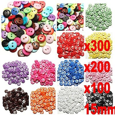 300x Resin Buttons Mixed colors craft Scrapbook sewing 2 Holes Round 15mm (Craft Buttons)