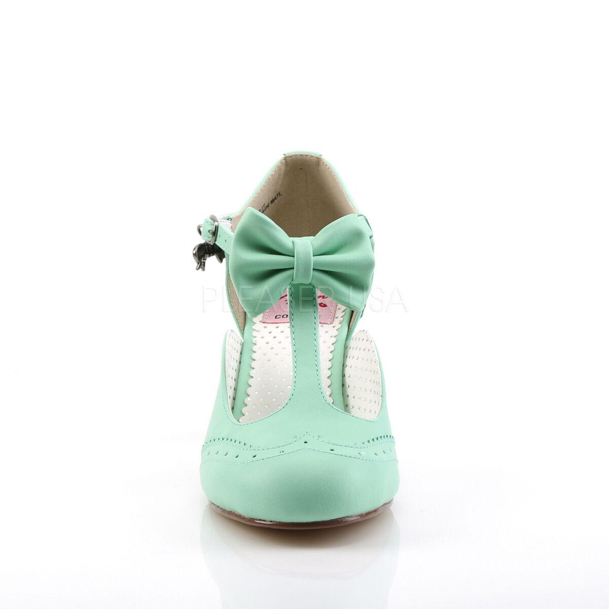 "Sexy 3"" Kitten Heel Round Toe Wingtip T-Strap Mint Green Pumps Shoes FLAP11/MTPU 1"