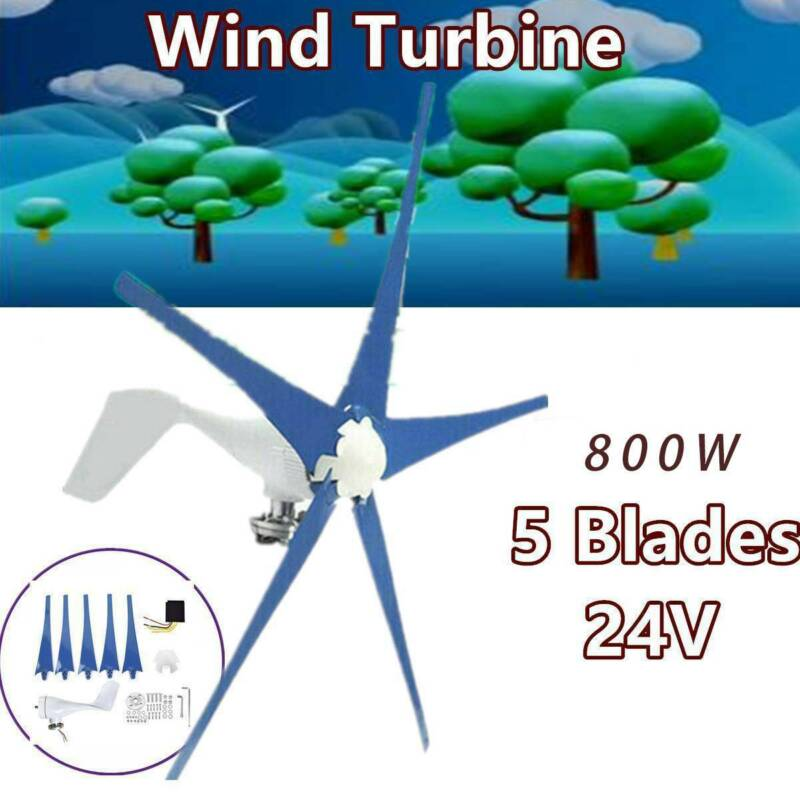 5 Blades Max Power Wind Turbines Generator 800W 24V Charge Controller USA.