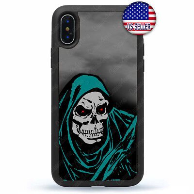 For iPhone Ten Xs Max XR X 8 7 6 Plus 5 Halloween Case Skull Reaper Death Cover