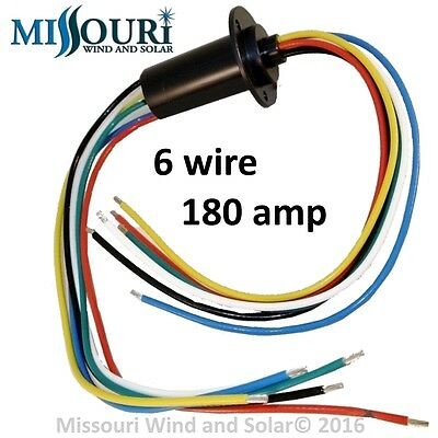 180 AMP 6 WIRE SLIP RING for Wind Turbines Permanent Magnet Alternators & PMGs