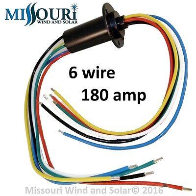 180 Amp 6 Wire Slip Ring for Wind Turbines Permanent Magnet Alternators & PMGs