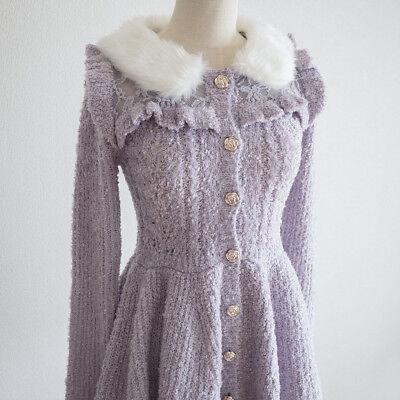 LIZ LISA Peplum Lux Sweater Cardigan Dress Romantic Hime Lolita Kawaii Japan 109
