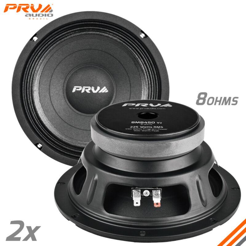 """2x PRV Audio 8MB450 Mid Bass Car Stereo 8"""" Speaker 8 Ohm 8MB PRO 900 Watts"""