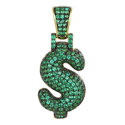 Green Dollar Sign (Bubble Dollar Sign Pendant 925 Sliver 14k Gold Finish Green Simulated Diamonds)