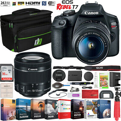 Canon EOS Rebel T7 DSLR Camera 18-55mm f/3.5-5.6 IS II Lens Kit Accessory Bundle