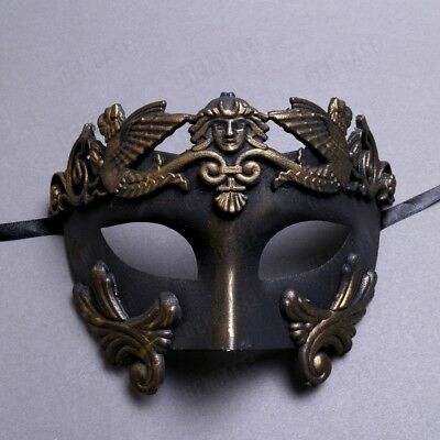 Men Masquerade Mask Roman Greek Warrior Emperor Venetian Mask - Dark Gold Black (Black Mens Masquerade Masks)