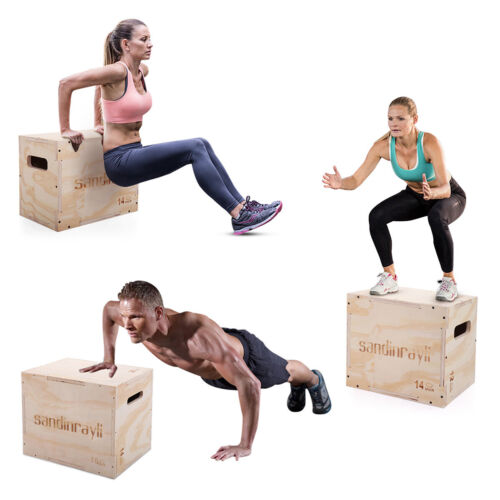 3-in-1 Wooden Plyometric Jump Box Exercise Strength Equipment for Training