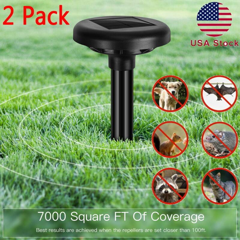 2-Pack Animal Mouse Repeller Ultrasonic Solar Power Outdoor Pest Mice Bird Snake