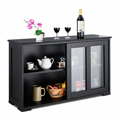 Costway Storage Cabinet Sideboard Buffet Cupboard Glass Slid
