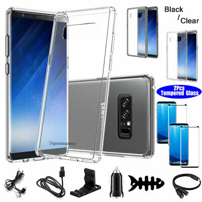 For Samsung Galaxy Note 8 Case Shockproof Clear Cover + Glass Screen Protector