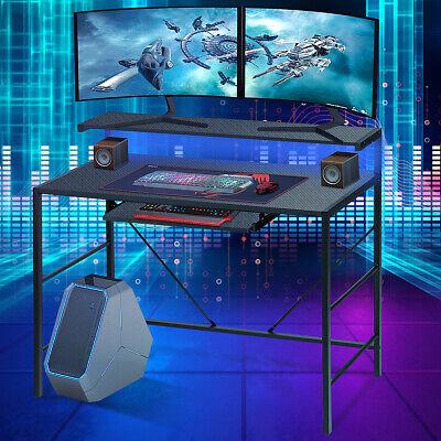 Gaming Desk w/ LED RGB light PC Computer Table Carbon Fibre Metal...