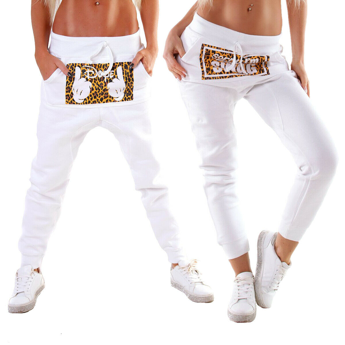 10240 Damen Jogging Hose Joggpants Sporthose Fitness Trainingshose Leopard..