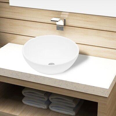 Keramik Waschschale Waschtisch Aufsatz Waschbecken Hand Waschplatz Weiß rund