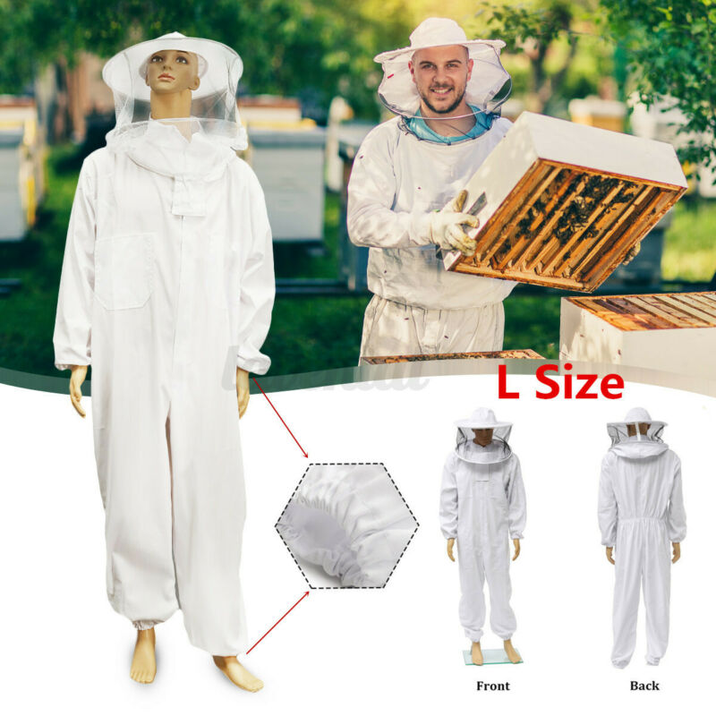 L INSMA Professional Cotton Full Body Beekeeping Bee Keeping Suit With Veil