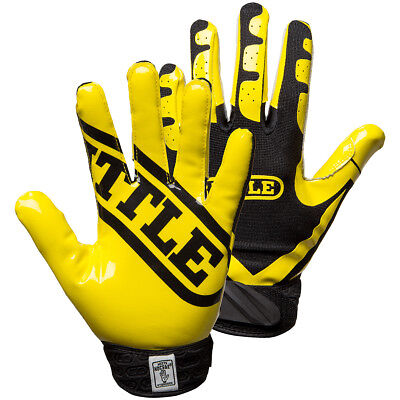 Battle Sports Science Receivers Ultra-Stick Football Gloves - Neon Yellow/Black