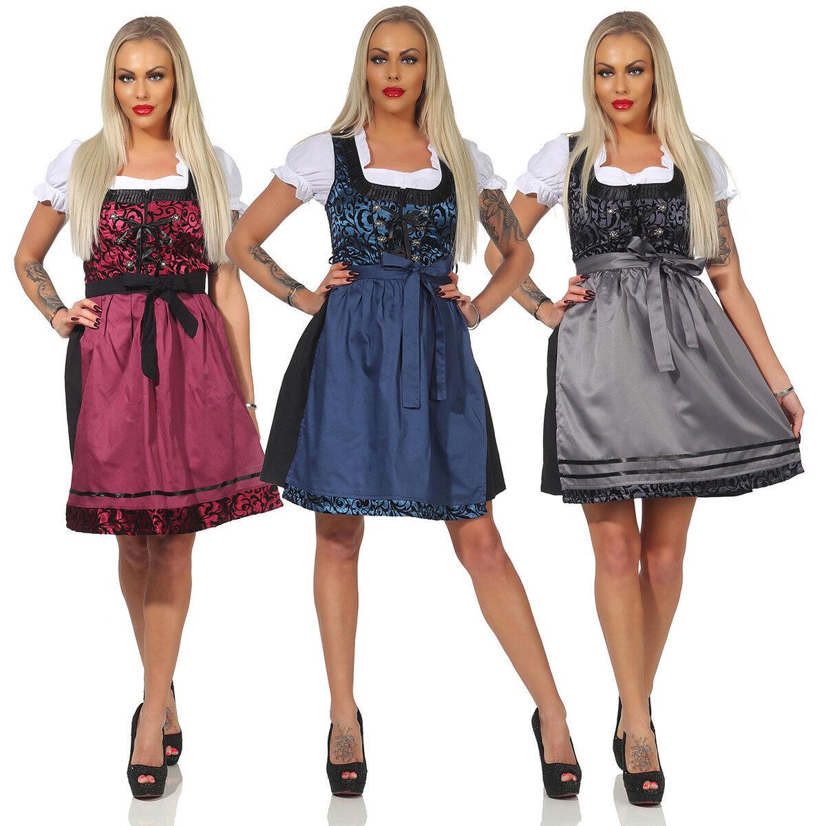 Dirndl Trachtenkleid 3 Teilig Set Oktoberfest Blau Rot Pink Schwarz Gr 34 - 46
