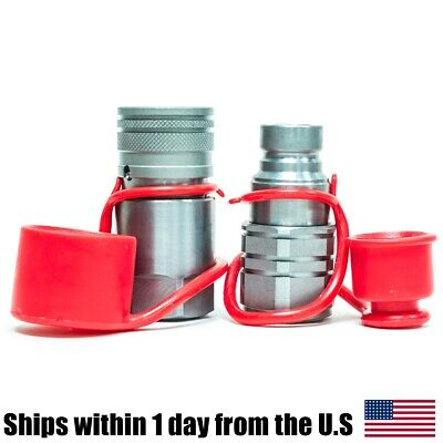 12 Npt Flat Face Hydraulic Quick Connect Coupler Set Skid Steer For Bobcat