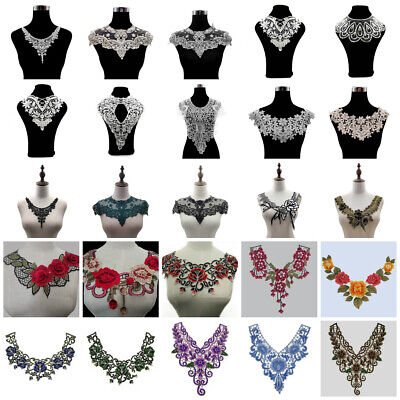 Lace Collar Trim Floral Embroidery Neckline Sewing Applique Patch Fabric DIY -