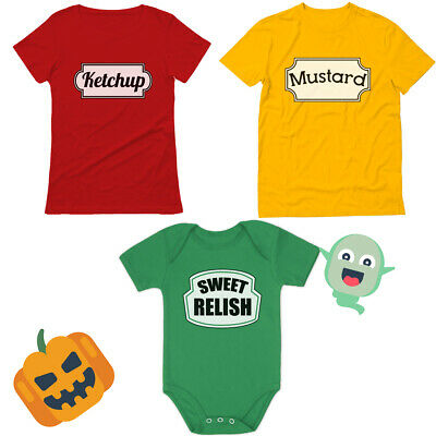 Twin Infant Halloween Costumes (Ketchup Mustard Sweet Relish Family Matching Halloween Costume Mom Dad)