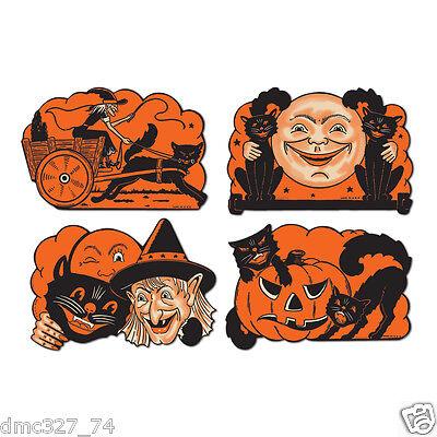 4 Retro HALLOWEEN Decorations Die Cut Cutouts Vintage Beistle 1950 Reproduction](Beistle Die-cut Halloween Decorations)