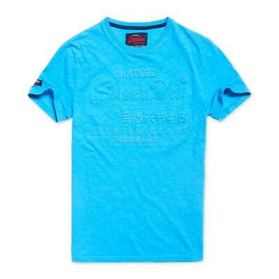 Superdry Mens Blue Textured Graphic Tee T-Shirt Top L BHFO 3457