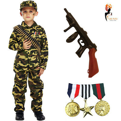 Kids Boys Camo Outfit Army Soldier Commando Fancy Dress Party Costume Book - Army Costumes