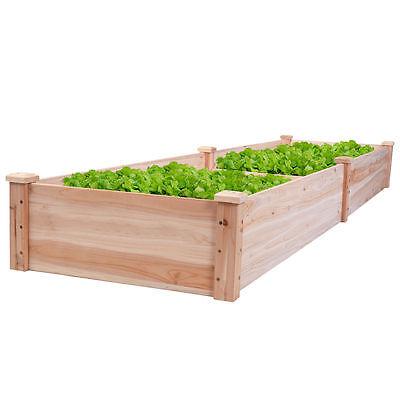 Wooden Vegetable Raised Garden Bed Patio Backyard Grow Flowers Plants Planter