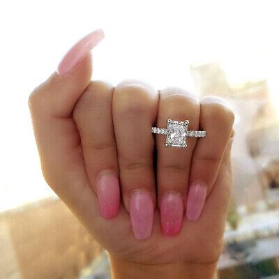 Natural 2.60 Ct Radiant Cut U-Setting Pave Diamond Engagement Ring J VS2 14k GIA